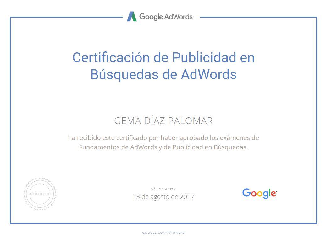 Certificada en Publicidad en Búsquedas de Adwords