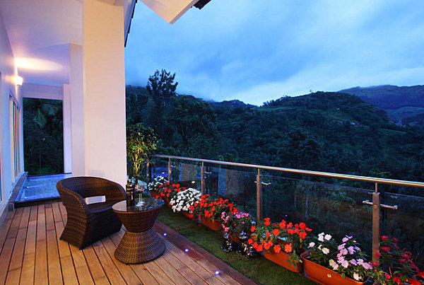 Beautiful Balcony Garden With A Stunning View With Wooden Deck Flooring Design