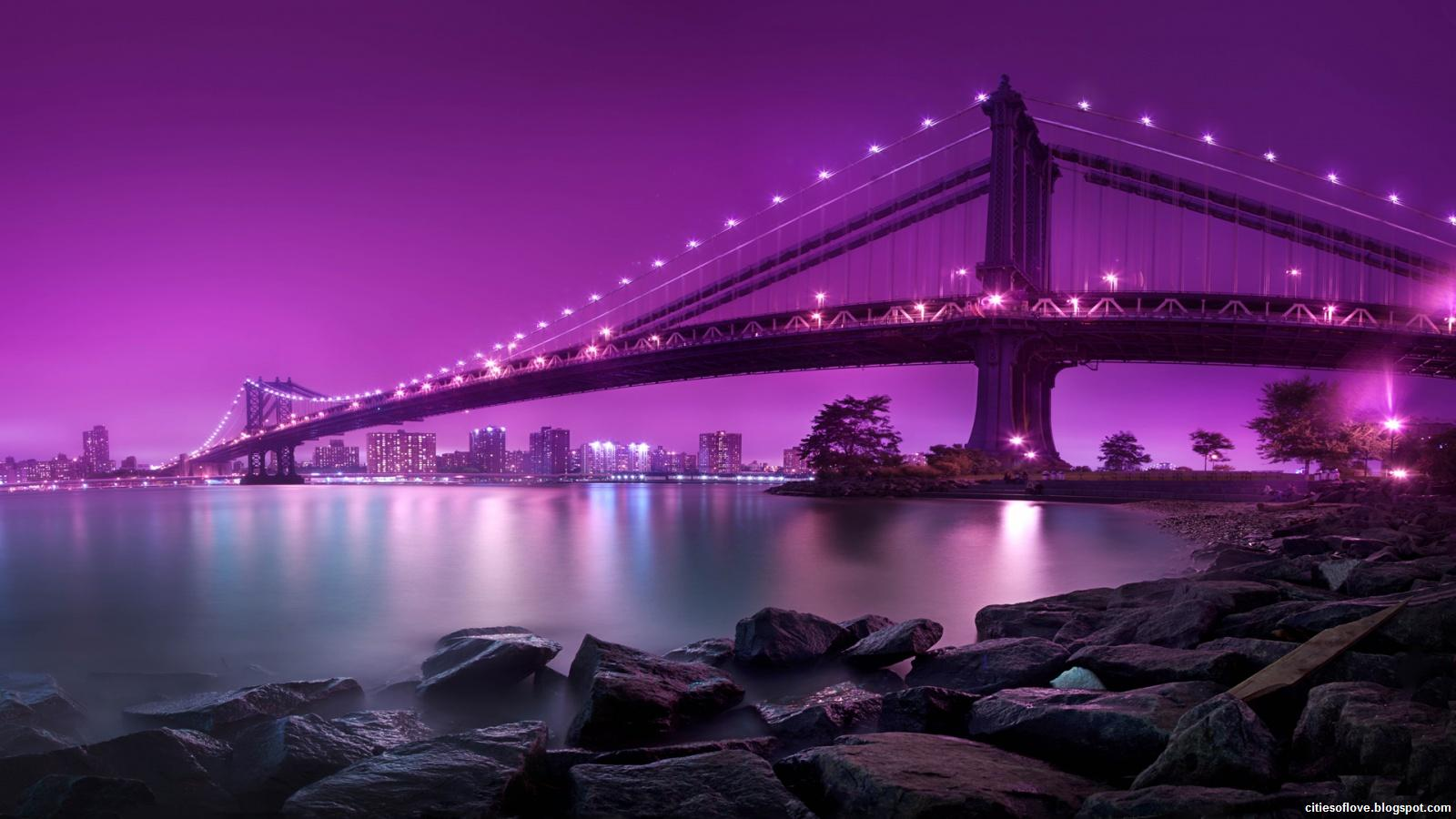new york city manhattan bridge purple night united states of america