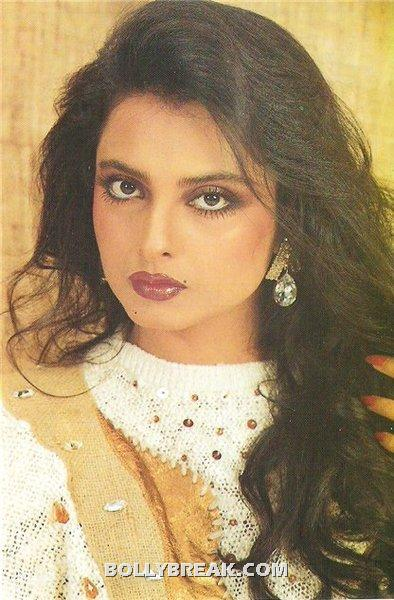 Rekha Long Hair Big Beautiful eyes - Rekha Hot Pics - 1980's 1970's Rekha Photo Gallery