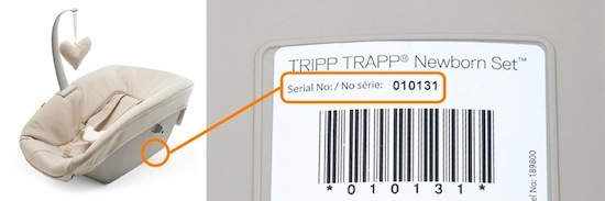 Tripp Trapp® Newborn Set™ serial number location