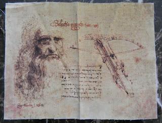 facsímil del códice Atlántico con la ballesta de Leonardo Da Vinci