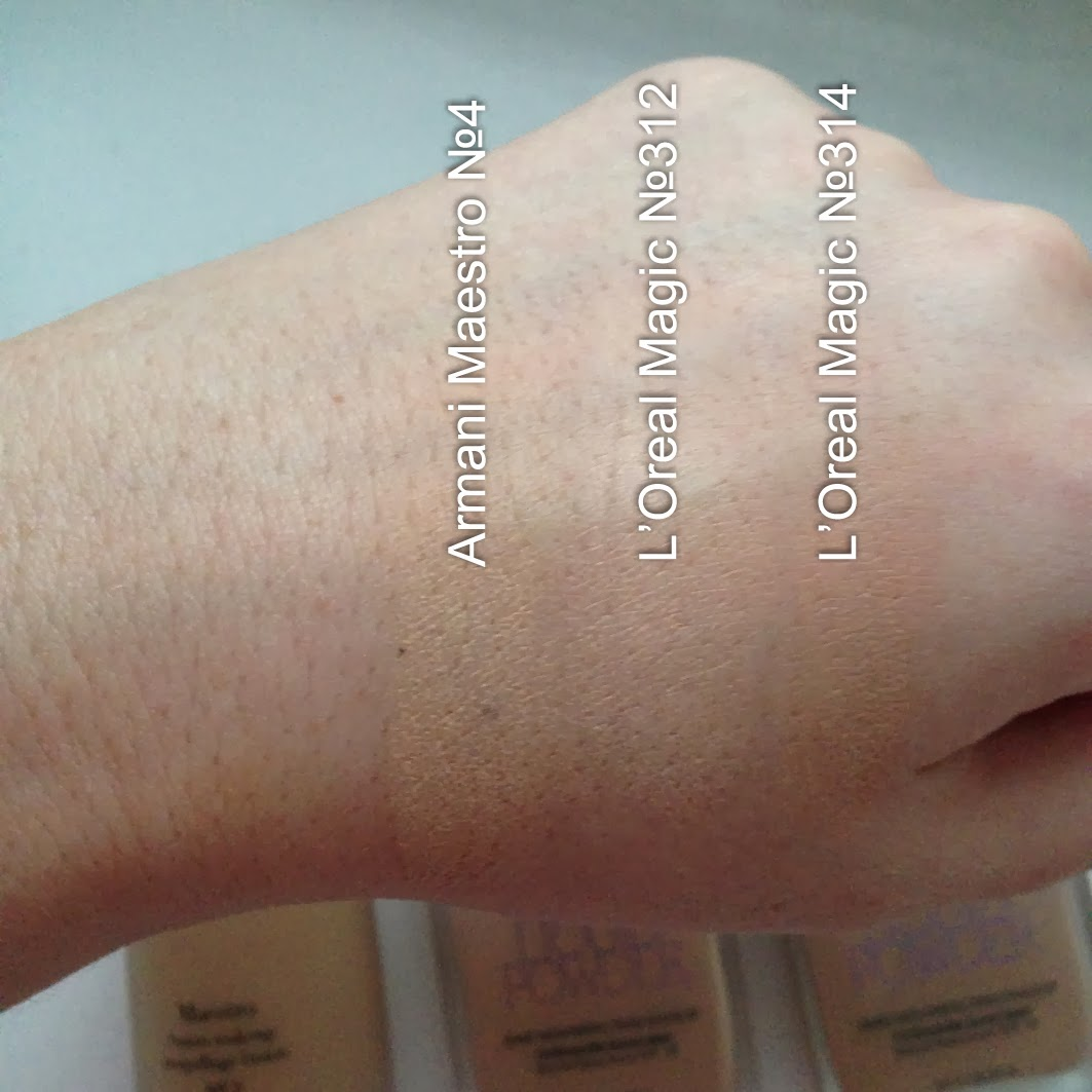 Loreal Nude Magic liquid powder 312 314 swatch