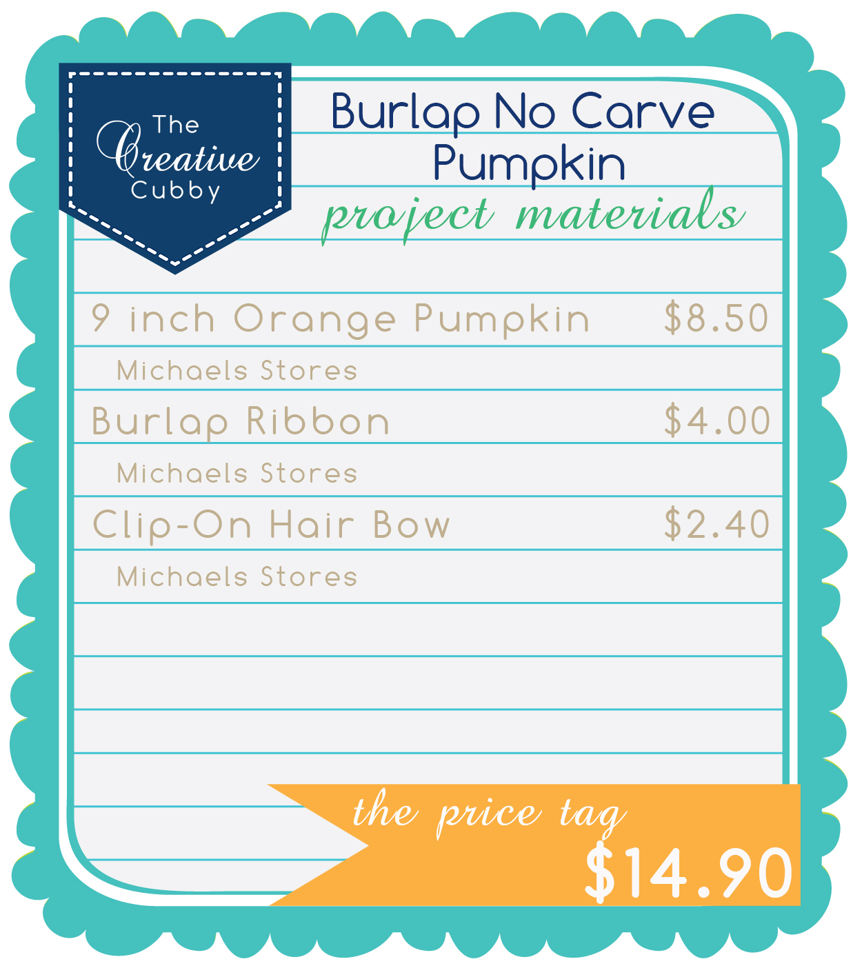 The Creative Cubby No Carve Pumpkin With Cross Stitched Burlap
