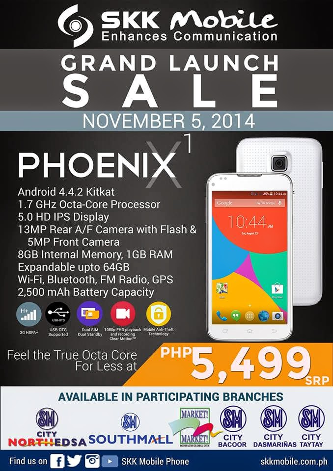 SKK Mobile Phoenix X1 Grand Launch Sale on November 5, 2014