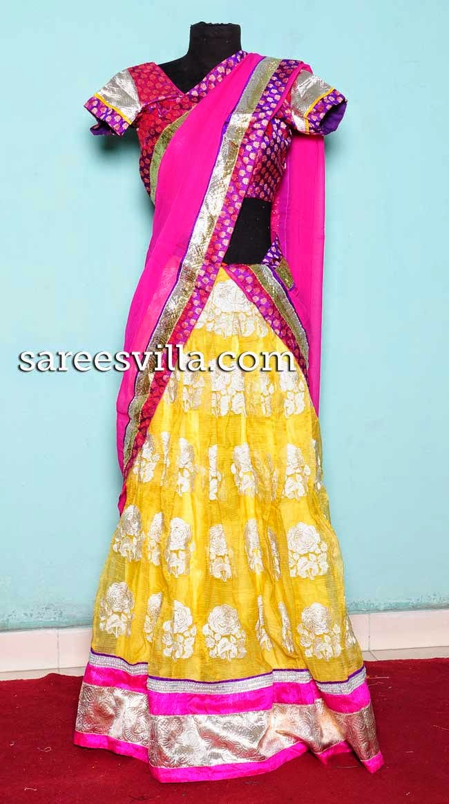 Yellow and Pink designer half saree