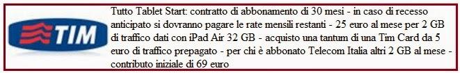 costi e condizioni abbonamento tim tablet start con ipad