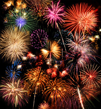 multicolored fireworks display