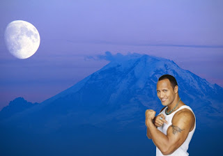 Dwayne Johnson Free Wallpapers The Rock shows Biceps and Tattoo Bull in Ascent Moon Background