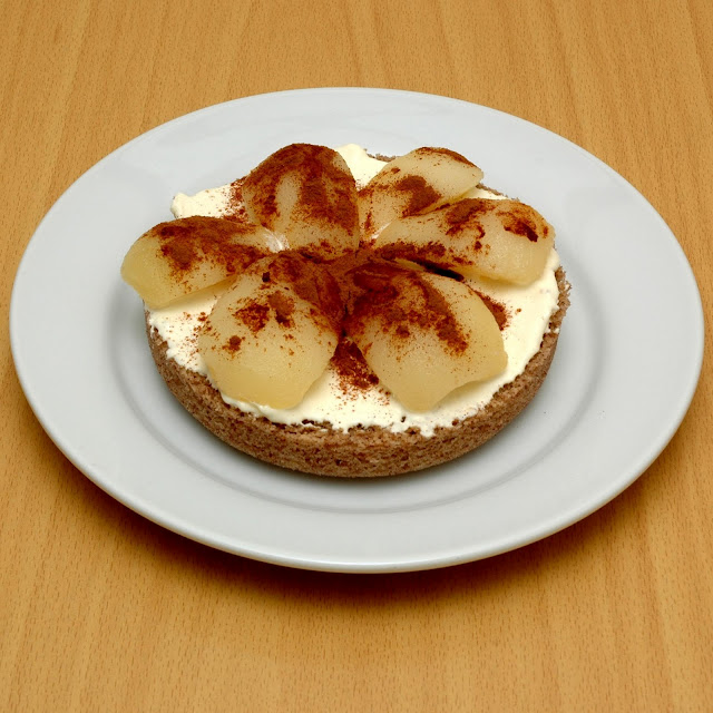 Low carb pear, cinnamon and cream sponge cake. Pear+1