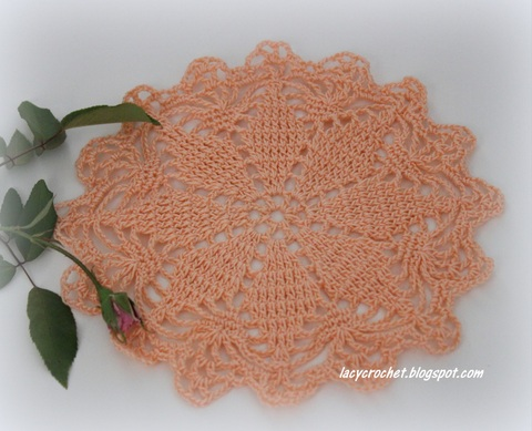 Lacy Crochet Small Peach Doily And Vintage Tablecloth Pattern