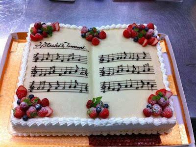 Tarta con notas musicales