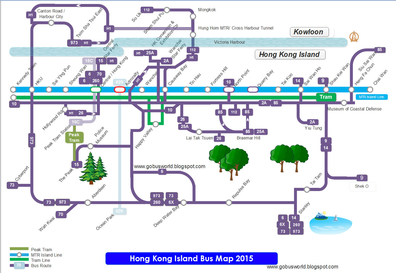 Hong Kong Island Bus Map
