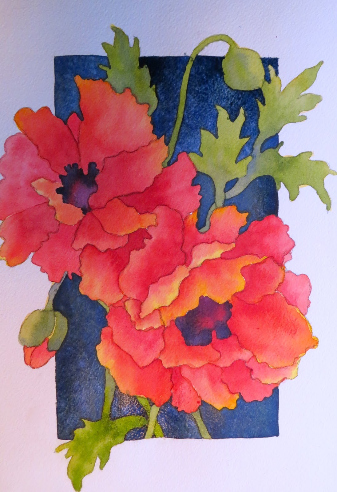 The painted prism watercolor workshop painting red poppies for Watercolor painting step by step