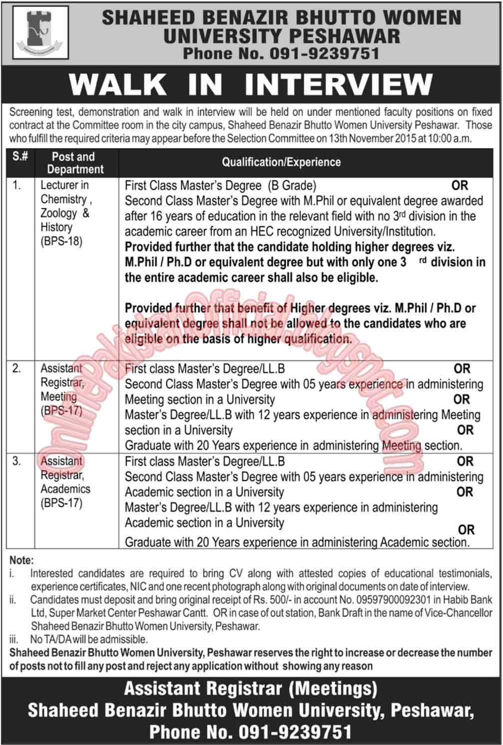 Faculty Required For Shaheed Benazir Bhutto Women University, Peshawar