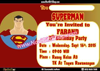 Undangan Superman Tahsin3 Kartu Undangan Ulang Tahun Anak (Invitation Card)