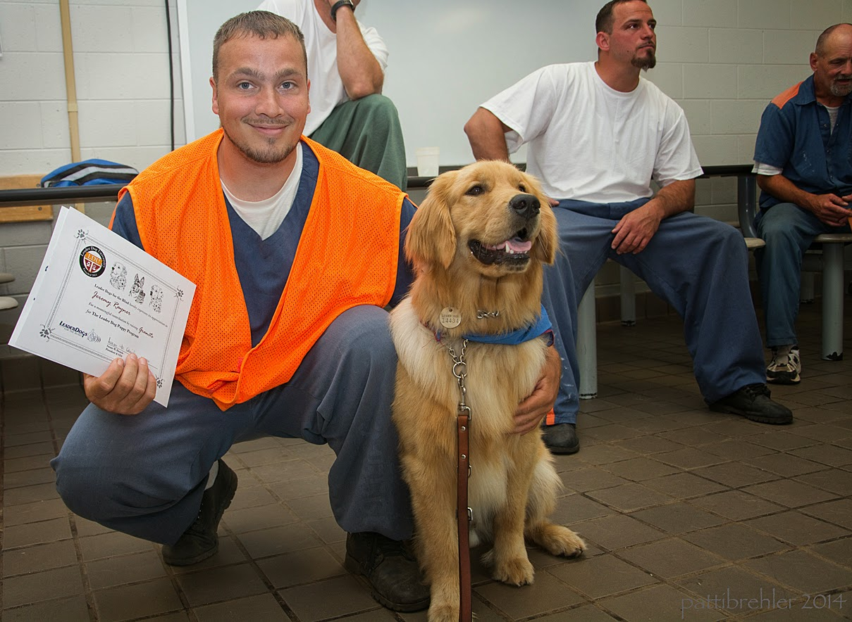 A man wearing the blue prison uniform and an orange vest is squatting next to a golden retriever. The golden is sitting down on the right side and is wearing the blue Future Leader Dog bandana. The man has his left arm draped over the dog's shoulders and is holding up a certificate in his right hand. The man has a very big smile on his face. There are three men in the background.