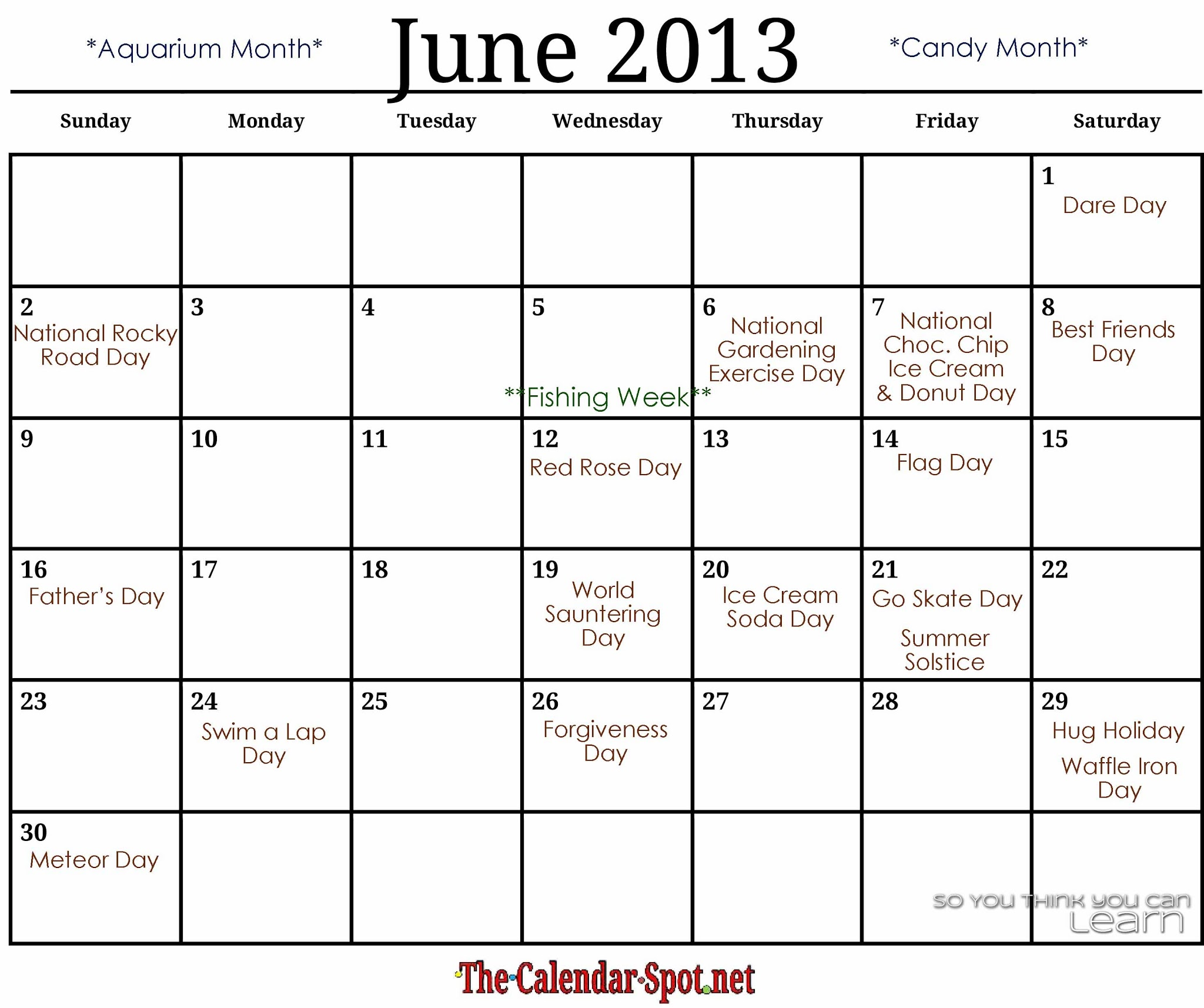 Calendar June 2013 : June and july calendar