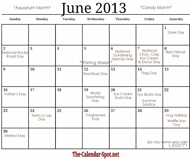 Calendar Spot June : So you think can learn june holidays