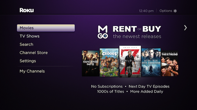 M-GO added to Roku 1, 2, 3