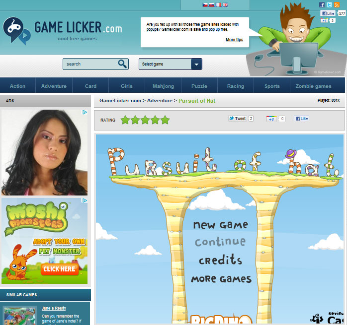 Go and browse the site's wide array of free flash games!