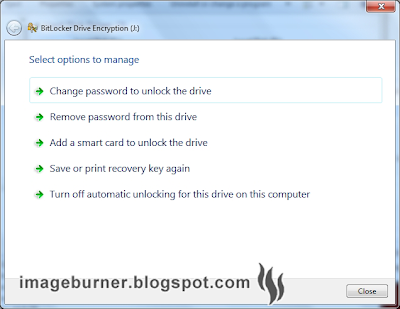 Going back to Computer (My Computer) and right-clicking on the encrypted USB flash drive will present you with an option to manage your BitLocker drive encryption preferences.