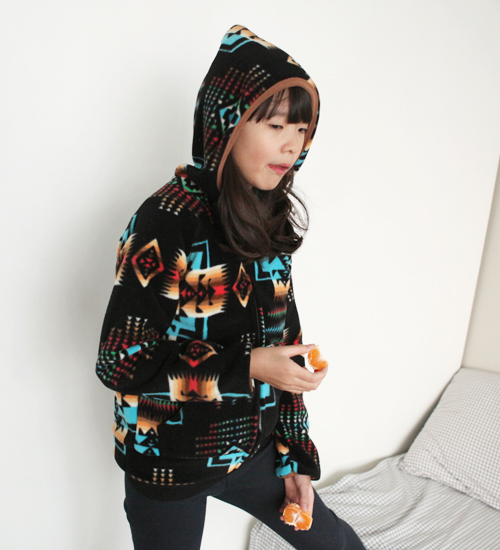 Korean Fashion - Ethnic Print Zip Jacket