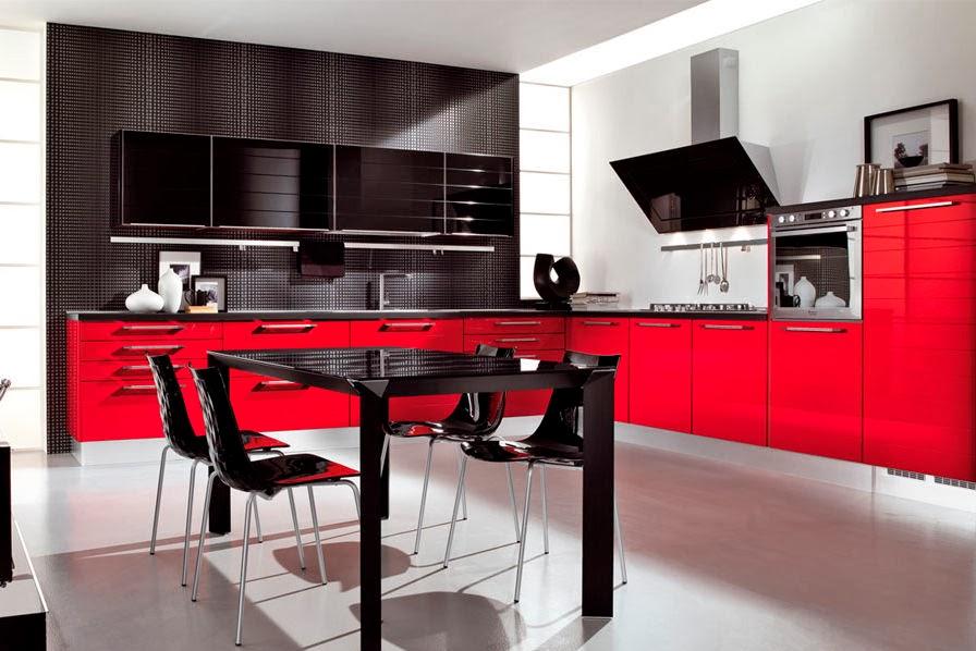 cocinas integrales modernas en rojo y negro colores en casa