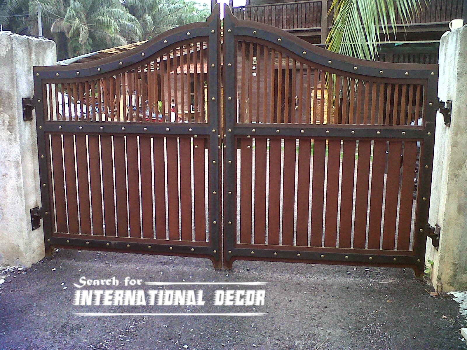 Option of gate designs for private home and garage top home decor 1 for Wooden main gate design for home