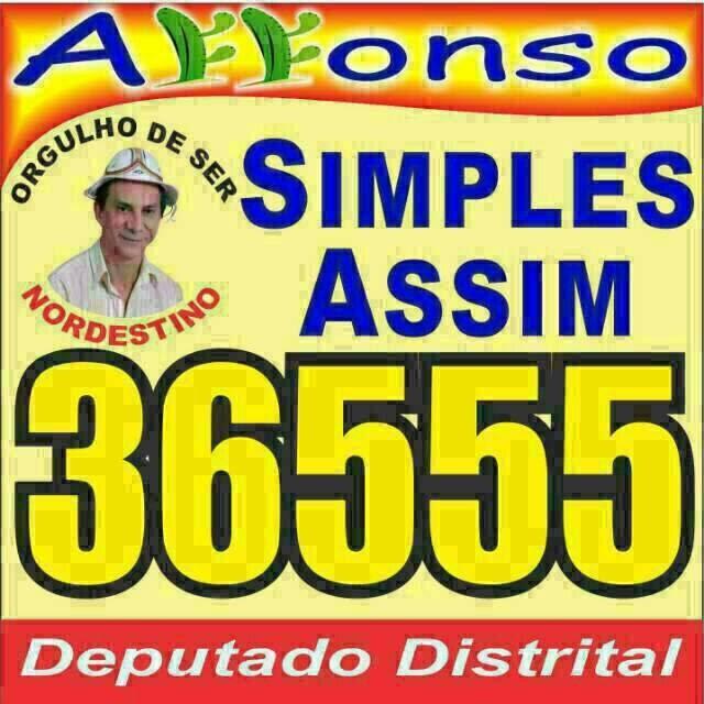 MANDE UM GUARDIÃO DOS NORDESTINOS PARA À CÂMARA LEGISLATIVA DO DISTRITO FEDERAL; AFONSO 36555.