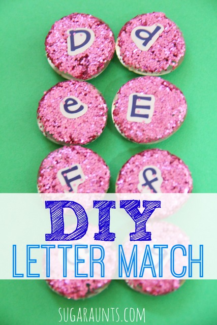 DIY letter match manipulatives with glass gems.  These are great for letter identification, matching, memory games, pre-reading.