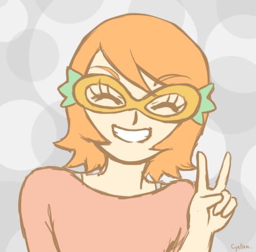 Charlotte porte un masque formé par deux carottes reliées