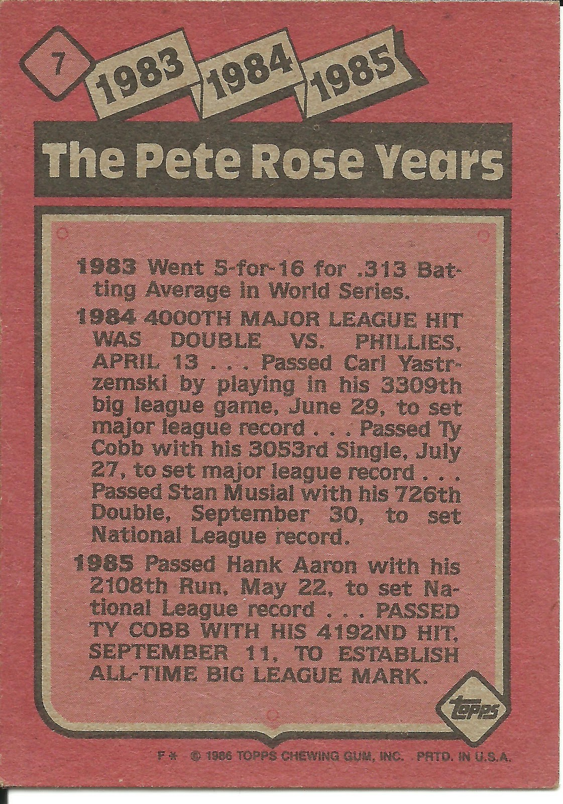 1986 Topps Blog 7 The Pete Rose Years 1983 1985