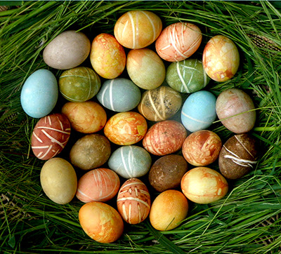 Basket of 2 1/2 dozen natural dyed easter eggs