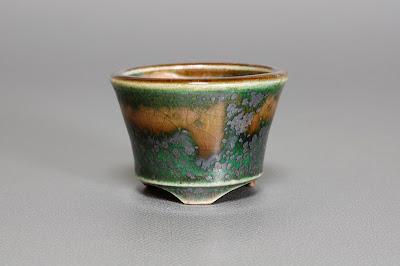 織部釉丸盆栽鉢
