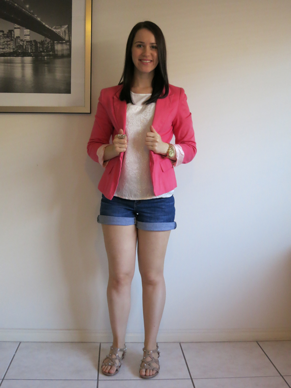uni outfit, college outfit, sparkly outfit, rose gold sandals, coral blazer, denim shorts, petite girl outfit, petite women outfit