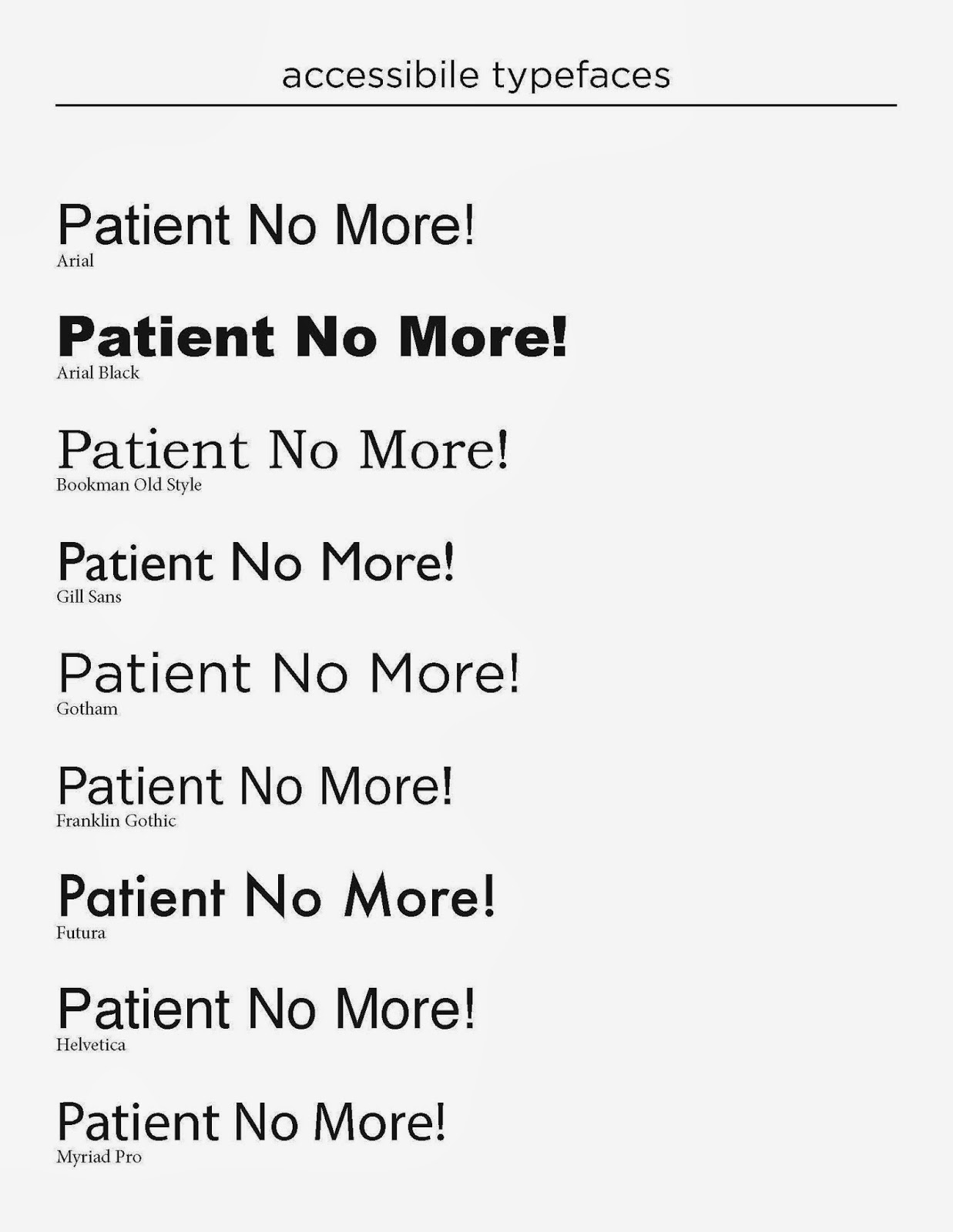 "the words ""Patient No More!"" written in a variety of fonts"