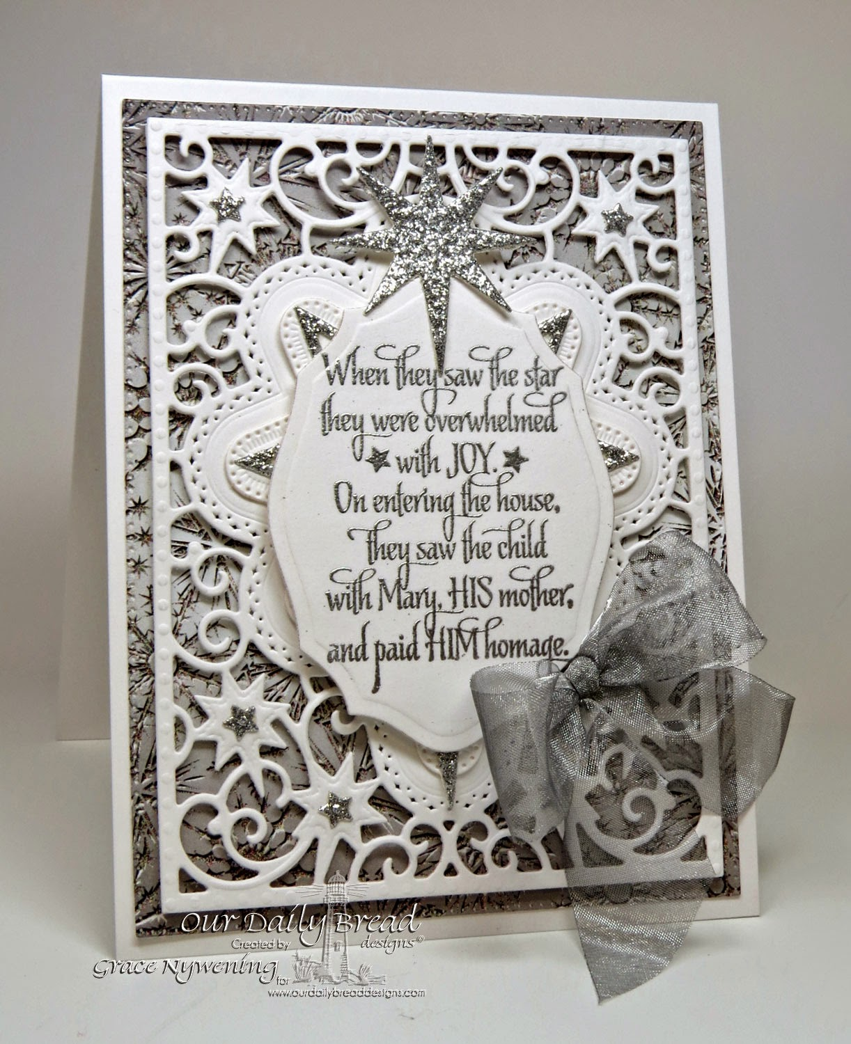 ODBD stamps Come Let us adore Him designed by Grace Nywening