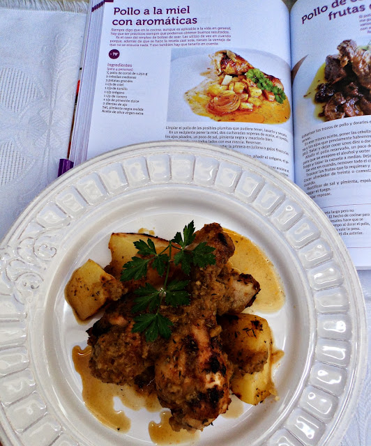 pollo, miel, aromáticas, receta casera