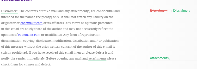 Update from codemakit mail disclaimer
