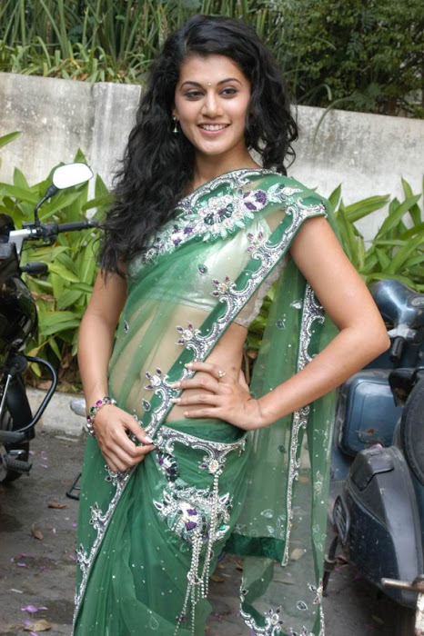tapsee in shadow movie fame green saree , hot images