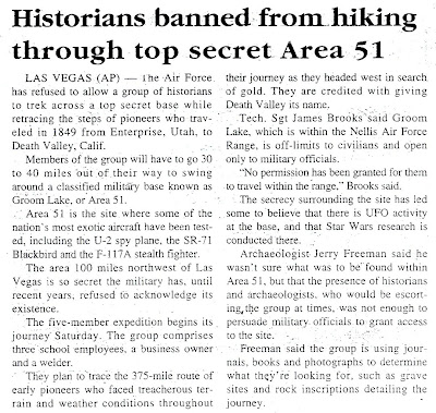 Historians Banned From Hiking Area 51 - State Press