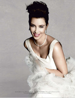 Kim Kardashian posing for Tatler UK November 2012 Issue in a white wedding dress