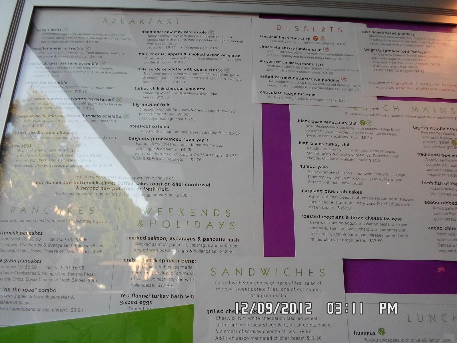 Big Sky Cafe Menu San Luis Obispo Ca