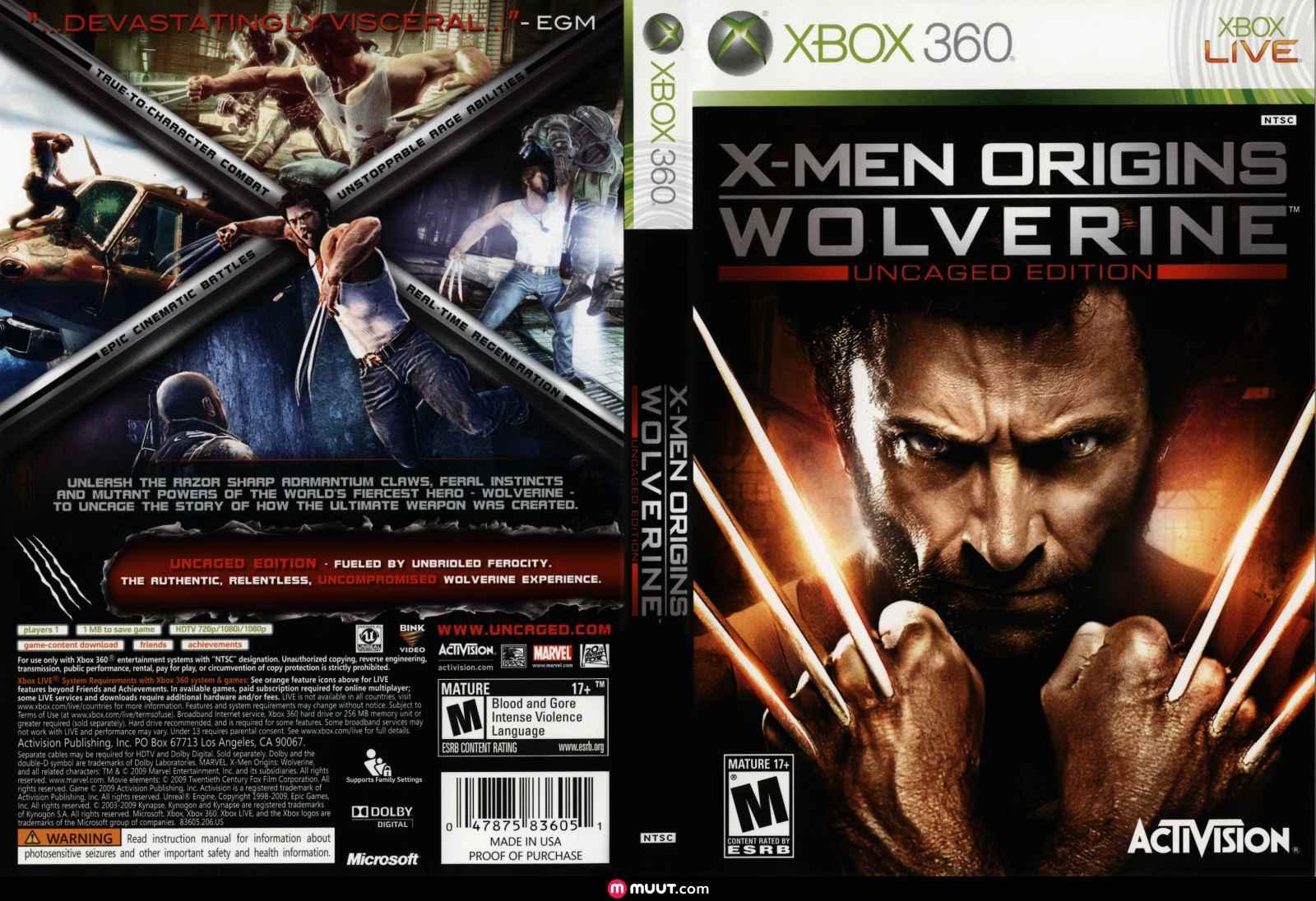 Capa X-Men Origins Wolverine Xbox 360