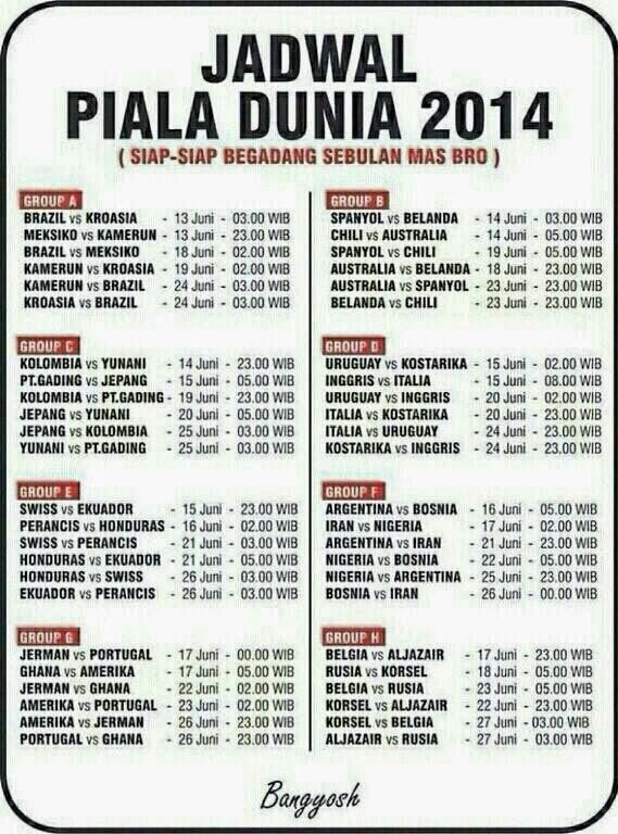 Inilah Jadwal Pertandingan Piala Dunia 2014