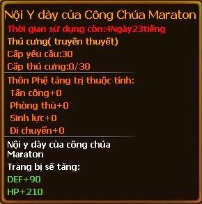 Chỉ số pet nội y dày của công chúa Maraton gunbao