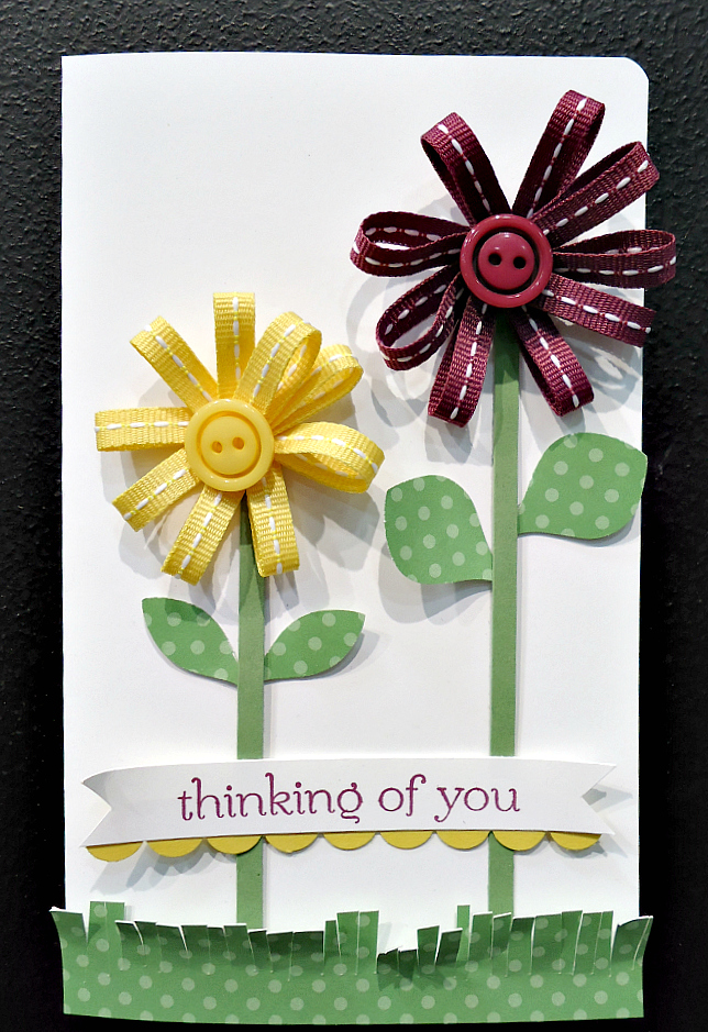 Thinking of You Card with Ribbon Flowers