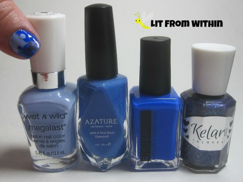 Bottle shot:  Wet 'n Wild Wear Skinny Jeans,Azature Lapis Diamond, Ginger + Liz Private Poole, and Kelara Lacquer Aunt Theresa 2.0.
