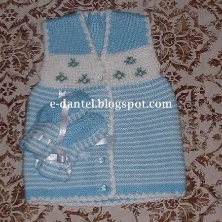 Mavi Çizgili Bebek Yelek Ve PAtik Modeli